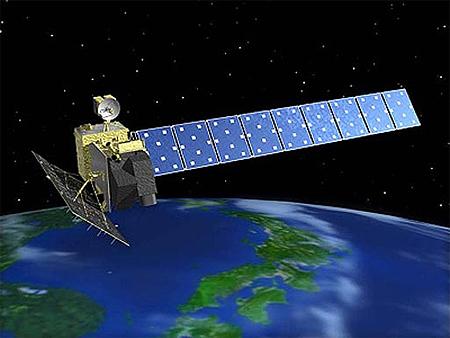 Immagine di un satellite in orbita. L'impatto con l'atmosfera lo farà scoppiare